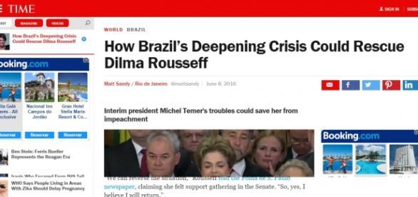 """Manchete da Time: """"Como a cada vez pior crise brasileira pode resgatar Dilma Rousseff"""""""