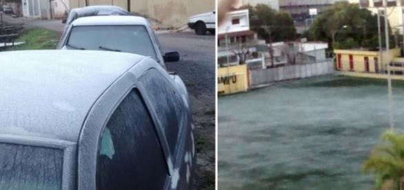 Carros amanheceram cobertos de gelo (Fotos: Reprodução/Facebook)
