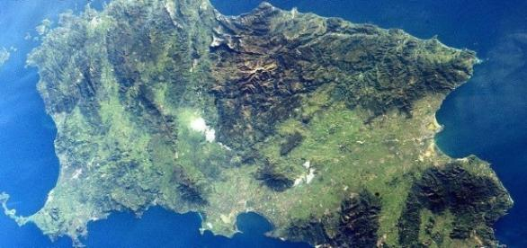 Un'immagine dall'alto della Sardegna