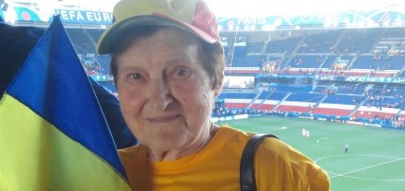 Maria Cornea, decanul de vârstă al suporterilor tricolori.