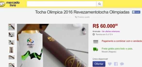 Anuncio feito em Alagoas pede a bagatela de 60 mil reais pela Tocha Olimpica