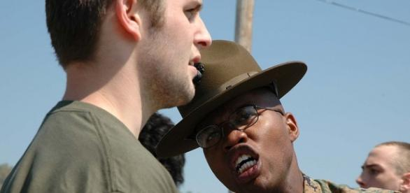 Marine corps instructor yelling at recruit. Staff Sergeant J.L. Wright Jr./Wikimedia Commons/Public Domain
