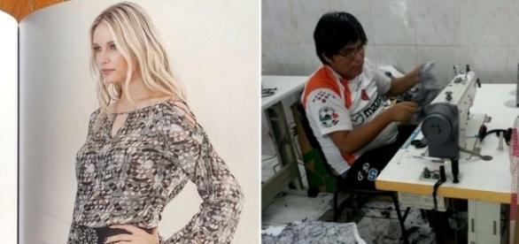 Catálogo (à esquerda) mostra roupa com a mesma estampa encontrada na oficina (à direita). Foto: Montagem (Piero Locatelli e MTPS)