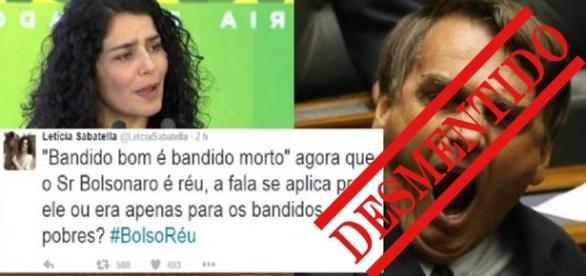 Desmentido: Letícia Sabatella e Jair Bolsonaro - Foto/Montagem