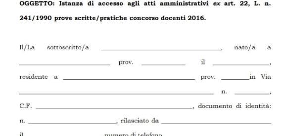 Modello Anief istanza di accesso alla prova scritta concorso docenti