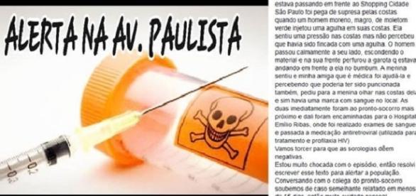 """Ataque de """"maníaco da agulha"""" na Avenida Paulista deixa população em alerta"""