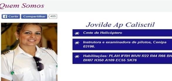 Jovilde era a piloto do helicóptero que caiu em São Paulo