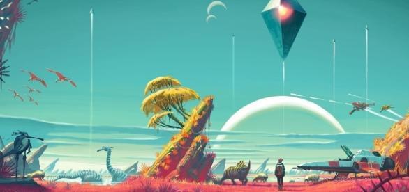 O gigantesco ambiente de No Man's Sky, o maior jogo já feito. (Reprodução/Hello Games)
