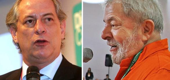 Ex-ministro Ciro Gomes e o ex-presidente Lula em destaque