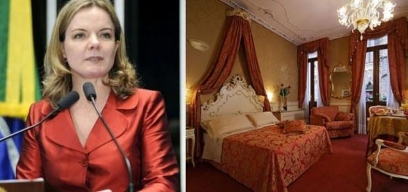 Gleisi Hoffmann teria ficado em loft de luxo