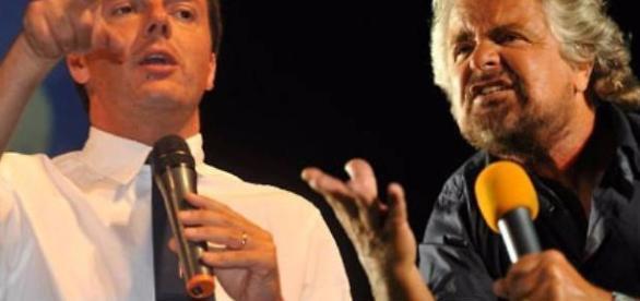 Il premier Renzi e Beppe Grillo