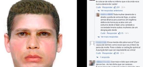 Semelhança com retrato falado divulgado pela Polícia provocou agressão. (Foto reprodução facebook)