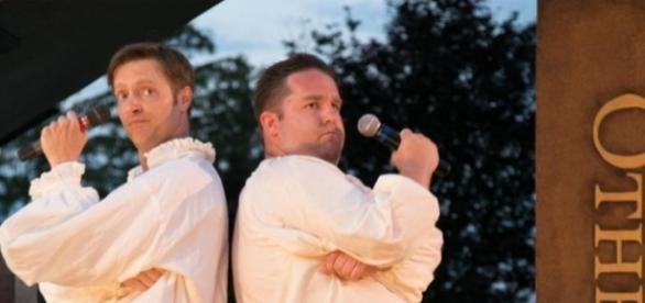 "Jon Barker and Connor Carew ""rap"" Shakespeare à la ""Hamilton."" Photo by Jerry Dalia, courtesy of The Shakespeare Theatre. used with permission."