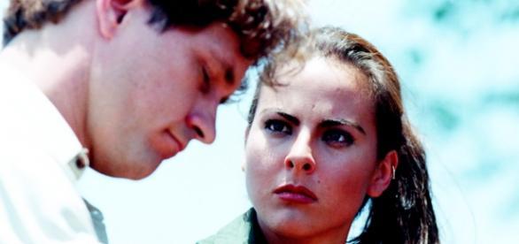 """Foto: Guy Ecker e Kate del Castillo em """"La Mentira"""", 1998."""