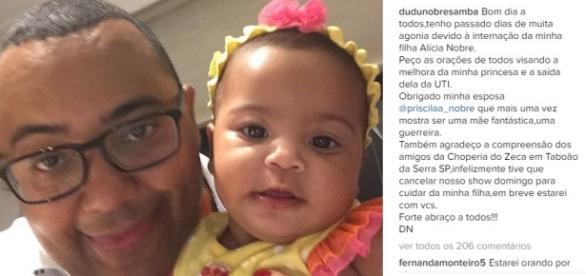 A filha de Dudu Nobre está internada na UTI