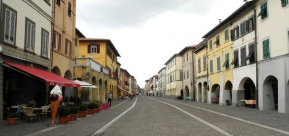 Il centro del capoluogo di Cascina (PI)