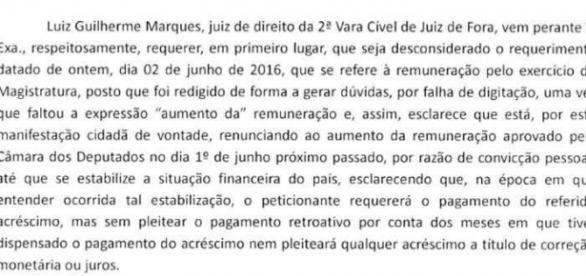 Íntegra do documento elaborado pelo juiz de Juiz de Fora