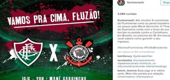 Flu convica torcida para lotar o mané garrincha contra o Corinthians (Fonte: Reprodução Instagram)