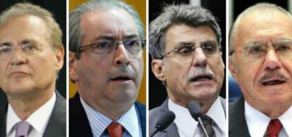 Renan Calheiros, Eduardo Cunha, Romero Jucá e José Sarney