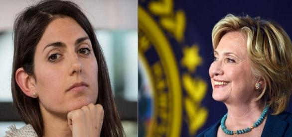 Virginia Raggi e Hillary Clinton