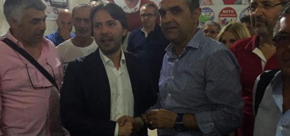 Corrado Figura e Massimo Prado in via Spaventa