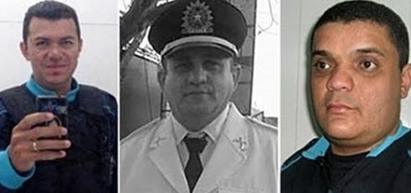 Os três policiais que morreram em confronto no Ceará.