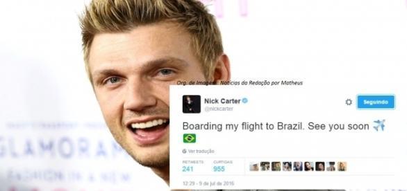 Nick Carter publicou no Twitter quando estava embarcando para o Brasil