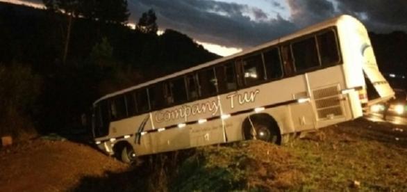 Ônibus envolvido no acidente em SC