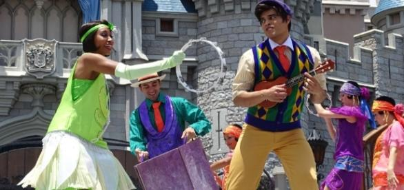 Princess Tiana and Prince Naveen join Mickey for the new Magic Kingdom show. (Photo by Barb Nefer)