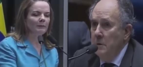 Senadora petista e Cristovam Buarque - Foto/Montagem