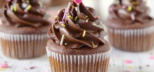 Um delicioso Cupcake de chocolate