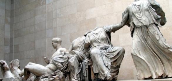 Estátuas e mármores do Pathernon, Grécia, em exposição no Museu Britânico