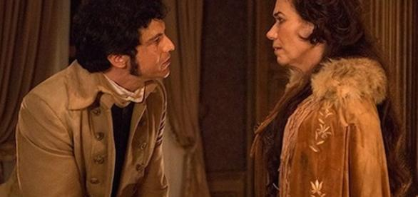 Rubião fala para Tolentino matar Virgínia, sem ele saber que a mulher é mãe do intendente