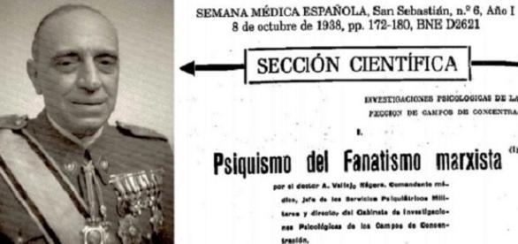 Antonio Vallejo Nágera padre, responsable de diseñar la represión franquista posterior en 1937, con toda clase de barbaridades.