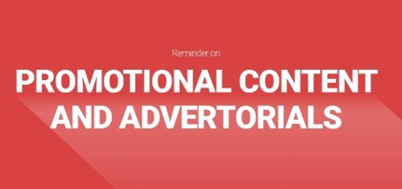 Promotional content and advertorials reminder