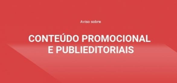 Aviso sobre conteúdo promocional e publieditoriais