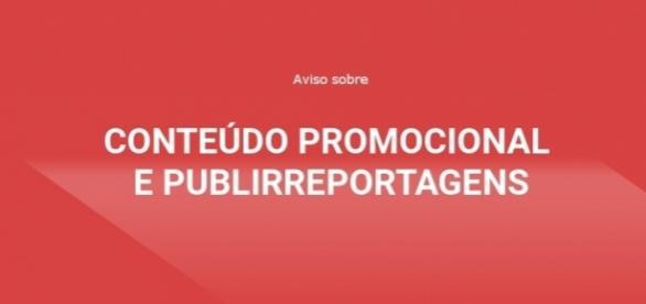 Aviso sobre conteúdo promocional