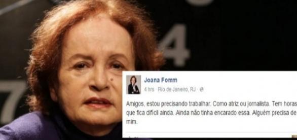 Joana Fomm faz apelo na internet