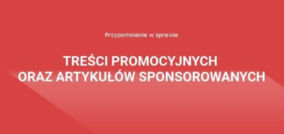Ogłoszenie w sprawie treści promocyjnych oraz artykułów sponsorowanych.