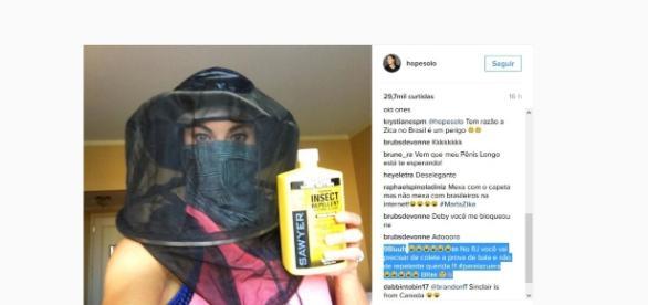 Postagem da jogadora americana no Instagram