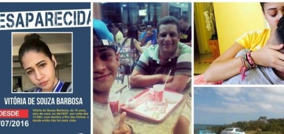 Cartas com foto de Victória e fotos do namorado Lucas e o pai dele