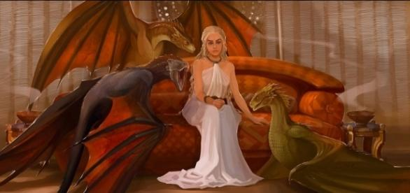 Daenerys Targaryen e seus filhos dragões