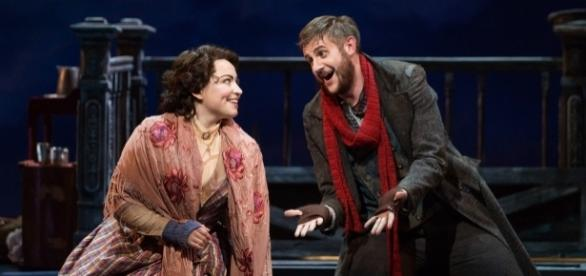 Raquel González and Michael Brandenburg as Mimì and Rodolfo, all atwitter in a drafty garret. Photo: Karli Cadel, The Glimmerglass Festival.