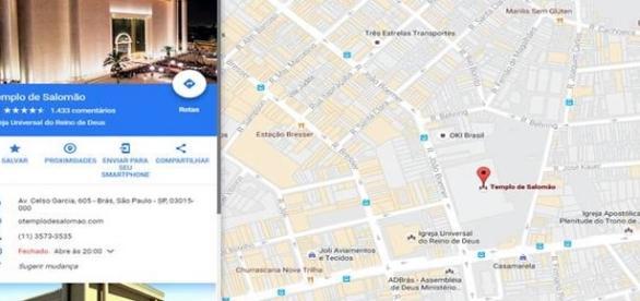 Google Maps, exibe o endereço do Templo de Salomão ao pesquisar sobre anticristo