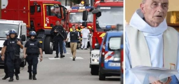 The scene after the attack on the priest. screencap via CNN