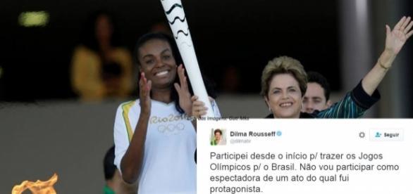 Presidente afastada confirmou sua ausência na abertura da Rio 2016.