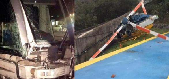VLT e aeronave sofrem acidentes graves