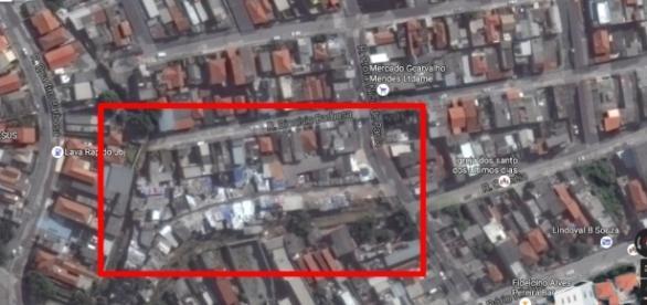 Localização da Favela dos Tubos, na zona norte