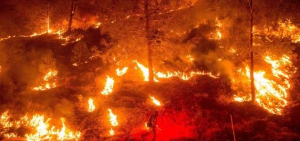 Um incêndio de grande proporção na Califórnia.