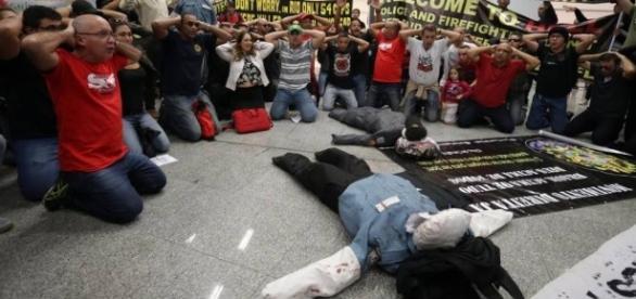 Galeão registrou protesto na segunda-feira